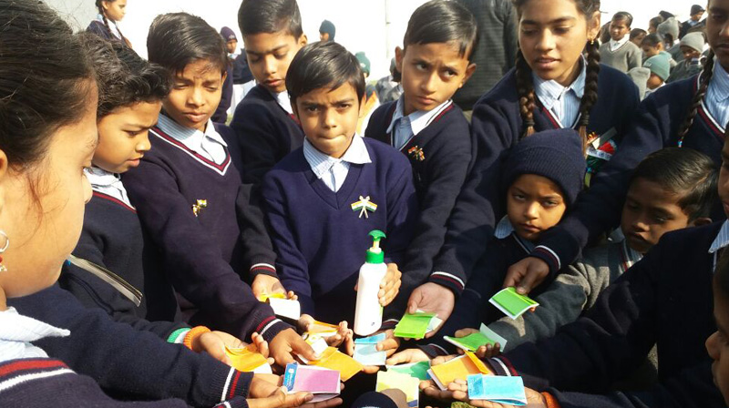 Members of the I-Volunteer Club deliver the strong message of personal hygiene through hand washing on Republic Day.