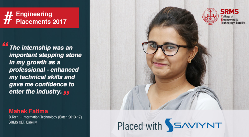 Mahek Fatima from SRMS CET, Bareilly reveals the secret behind bagging two prestigious placements with Saviynt and Certination