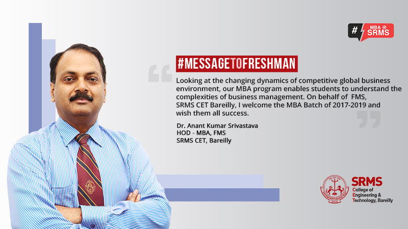 Welcome Message from Head of the Department for MBA (2017–2019 Batch)