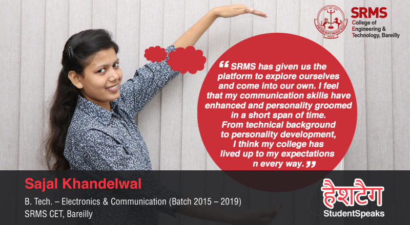 Sajal Khandelwal takes stock of her time at SRMS and how it has groomed her personality