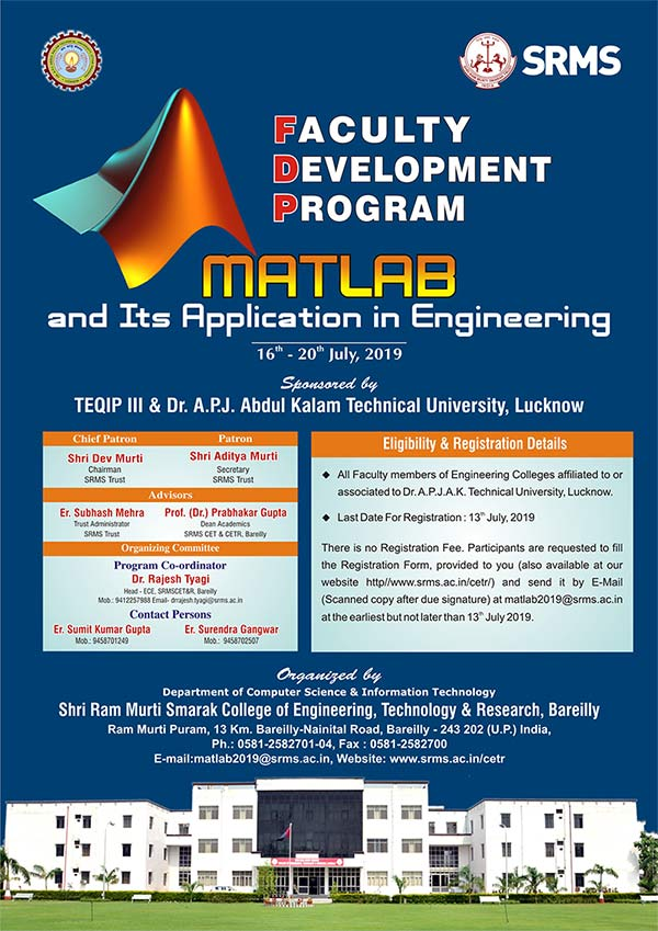 SRMS CET&R Faculty Development Programme ''Matlab and its